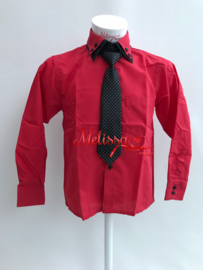 'Benny' jongens overhemd Rood met das