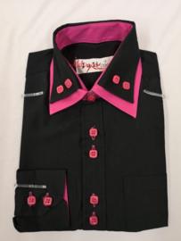 Zwart/roze blouse met das of strik.