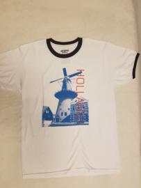 T-shirt wit met Hollandse molen