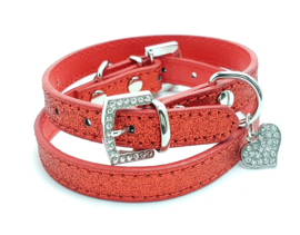 Rood halsbandje met hartje - MILO