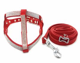 Honden trektuigje rood met riem