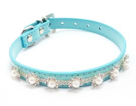 Blauw katten halsbandje met pareltjes - PHOENIX
