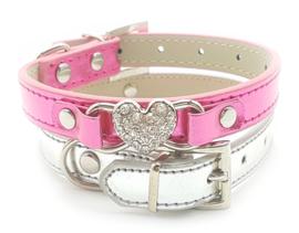 Hard roze halsbandje metallic - LADY