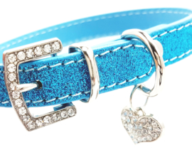 Blauw halsbandje met hartje - BAILEY
