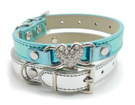 Blauw halsbandje met hartje metallic - SENNA