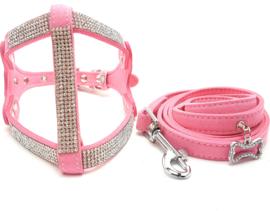 Honden trektuigje roze met riem