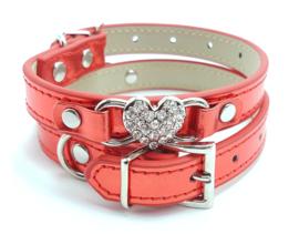 Rood halsbandje met hartje metallic - BEAU