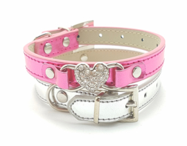 Hard roze halsbandje metallic - LADY