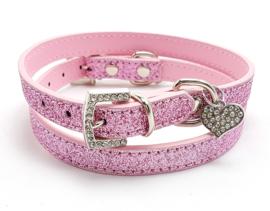 Roze halsbandje met hartje - AMY