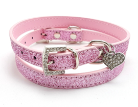 Roze halsbandje met hartje - SHIBA