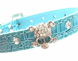 Blauw halsbandje met skull - BENNO