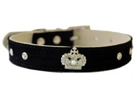 Zwart halsbandje met kroon - MEGAN