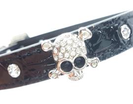 Zwart halsbandje met skull - ROCKS