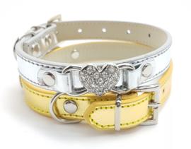 Zilver halsbandje met hartje metallic - BIBI
