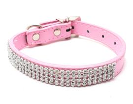 Roze honden halsbandje bling - ELLA