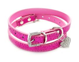 Paars roze halsbandje met hartje - BELLA
