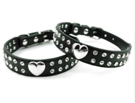 Zwart halsbandje met hartje - FELIX
