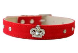 Rood halsbandje met kroon - QUEENIE