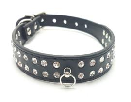 Zwart katten halsbandje met strass - DINA