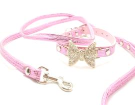 Honden set riem en halsband roze - DOLLY