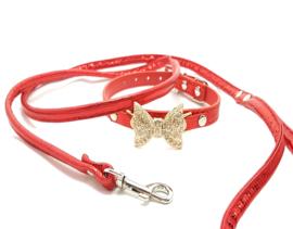 Rood halsbandje met strikje en riem - ZIGGY