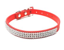 Rode katten halsband bling - DIVA