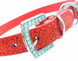 Rode honden halsband bling - YARA