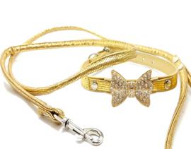 Goud halsbandje met strikje en riem - CHEVY