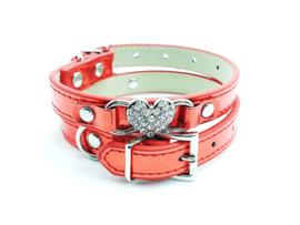 Rood halsbandje met hartje metallic
