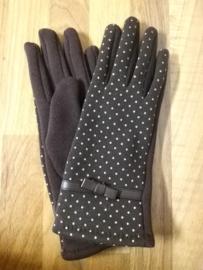 Handschoen bruin stip