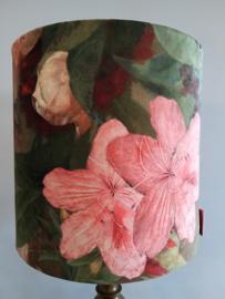 Lampenkap velours bloemen rood/roze