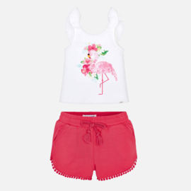 Mayoral Flamingo Chenille shorts setje