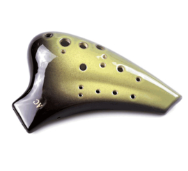 STL Double Ocarina (Venom Green) - 16 holes - Ceramic - C Major + Songbook