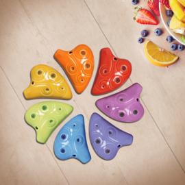 STL Rainbow Necklace Ocarina - 6 Holes - Ceramic - E Major (Soprano) - 7 Colors