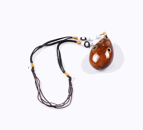 STL Necklace Ocarina - Earthy Brown - 6 Holes - Ceramic (Soprano)