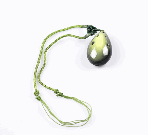 STL Necklace Ocarina - Lime Green - 6 Holes - Ceramic (Soprano)
