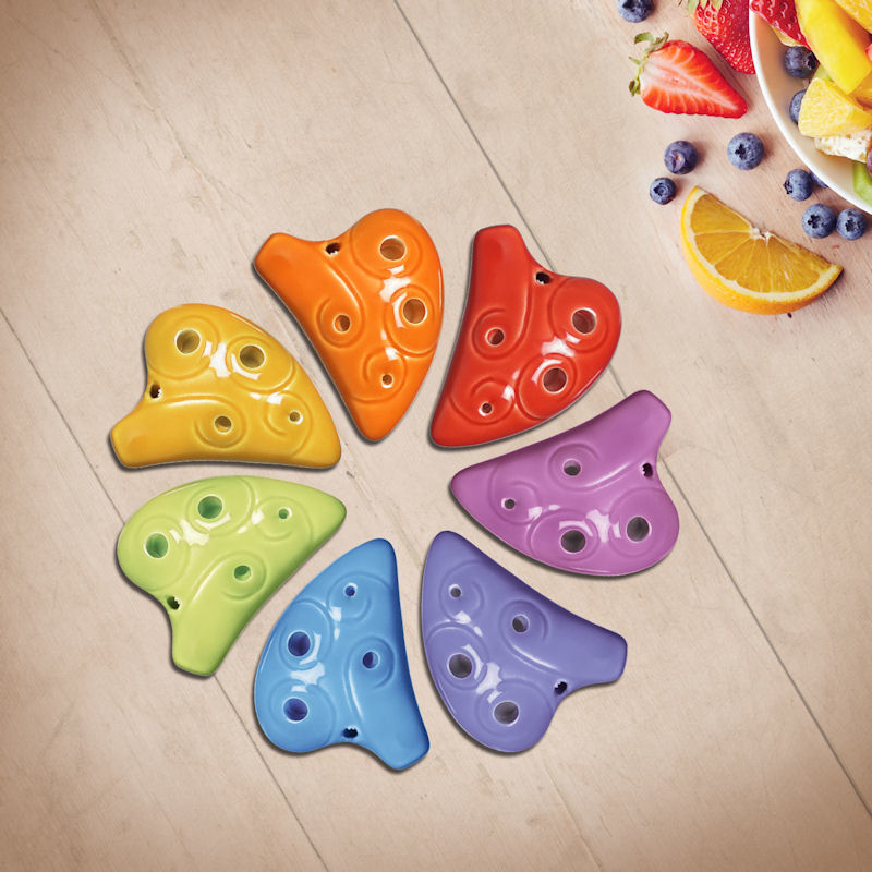 STL Rainbow Necklace Ocarina - 6 Holes - Ceramic - E Major (Soprano) - 7 Colors