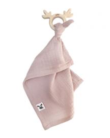 Malomi Kids - Teether/Muslin Cuddly Toy Dusty Pink