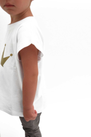 Omho - White oversized t-shirt gold crown