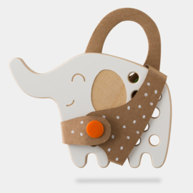 Milin Toys - Klein houten borduurfiguur voor peuters - olifant