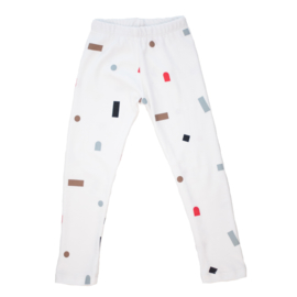 Hi Little - Logo shapes white legging