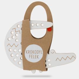 Milin Toys - Houten borduurfiguur voor kleuters - krokodil