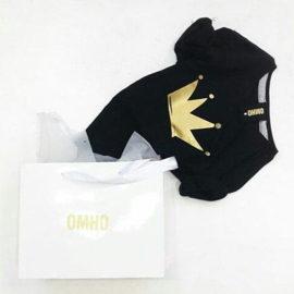 Omho - Black oversized t-shirt gold crown
