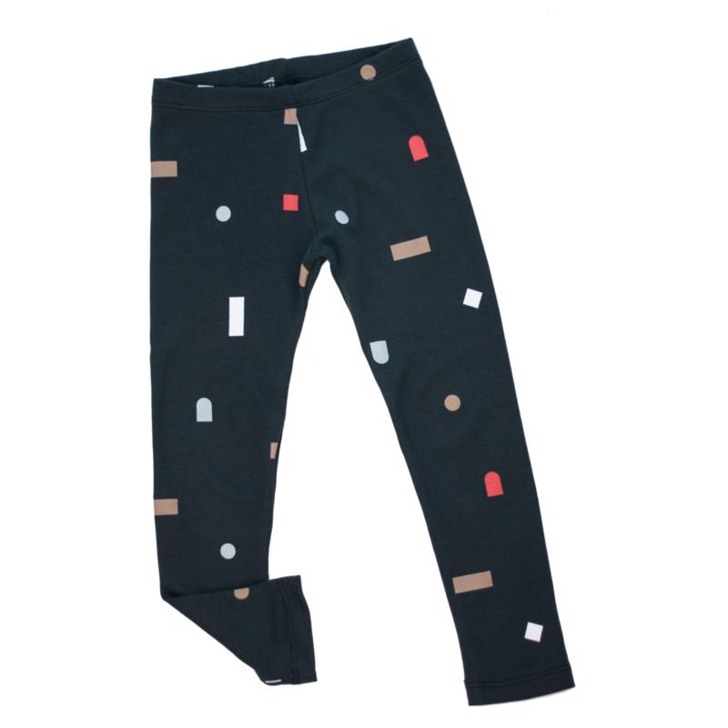 Hi Little - Logo shapes black legging