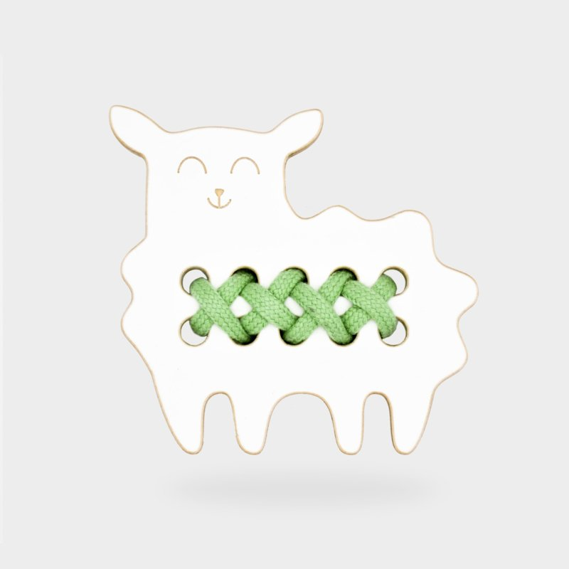 Milin Toys - Klein houten borduurfiguur voor peuters - schaap