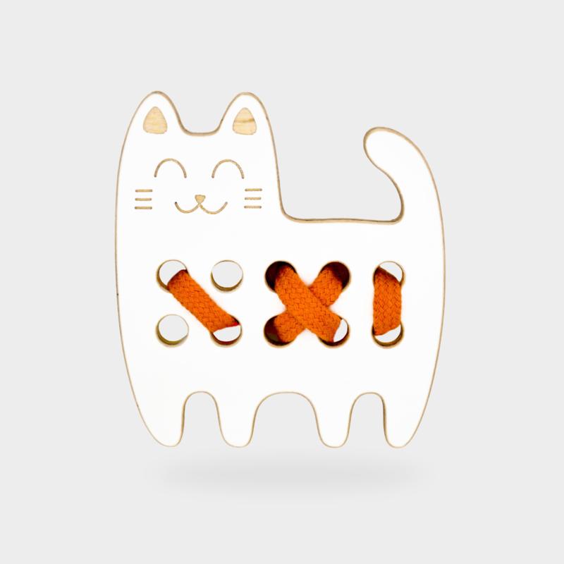 Milin Toys - Klein houten borduurfiguur voor peuters - poes