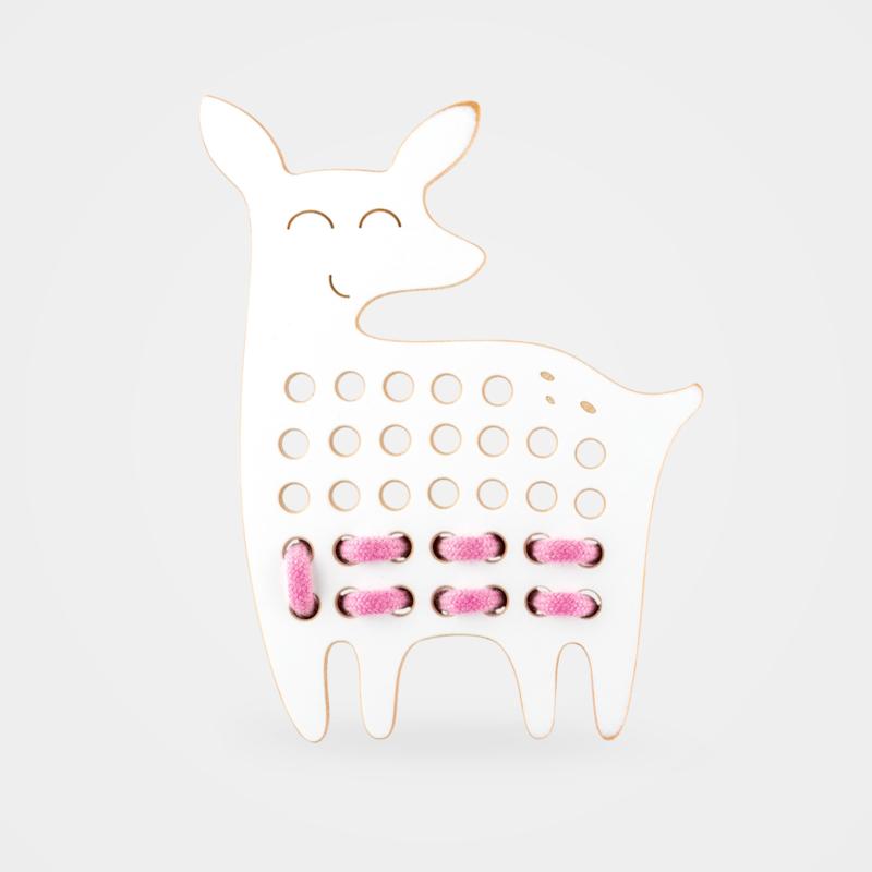 Milin Toys - Houten borduurfiguur voor kleuters - hertje