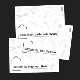 Stickers 'Onderdelen van: .....'