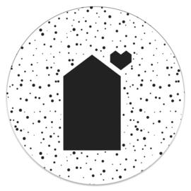 Muurcirkel 'Huisje' met stip   20cm of 25cm
