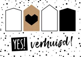Set van 5 verhuiskaarten met envelop 'YES!verhuisd!'